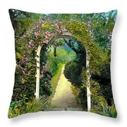 Floral Arch And Path Throw Pillow