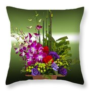 Floral Arrangement - Green Throw Pillow by Chuck Staley