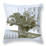 Floral Arrangement With Blinds Reflection Throw Pillow
