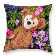 Floral Bear Throw Pillow
