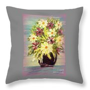 Floral Delight Acrylic Painting Throw Pillow