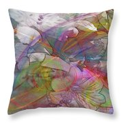 Floral Fantasy - Square Version Throw Pillow