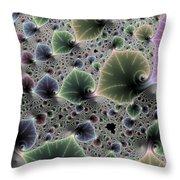 Floral Fractal Artwork Green Blue Pink Digital Leaves Throw Pillow