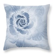 Floral Impression Cyanotype Throw Pillow