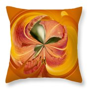Floral Orange Orb Throw Pillow