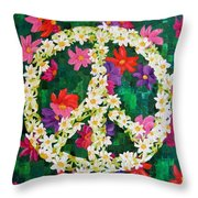 Floral Peace Pop Art Throw Pillow