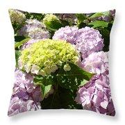 Floral Pink Lavender Hydrangea Garden Art Prints Throw Pillow