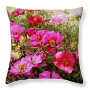 Floral Portulaca Garden Throw Pillow