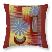 Floral Still Life In Red Throw Pillow