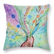 Floral Stream Throw Pillow