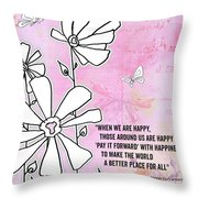 Floral Typography Word Art Quote Flowers And Butterflies By Megan Duncanson Throw Pillow