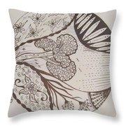 Floral Zen Tangle  Throw Pillow