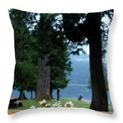 Floral's At The Lake  Throw Pillow