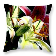 Florals In Contrast Throw Pillow