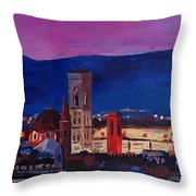 Florence Skyline Italy With Santa Maria Del Fiore Throw Pillow