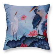 Florida Beauty Hand Embroidery Throw Pillow by To-Tam Gerwe