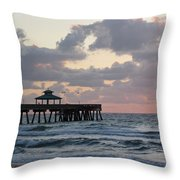 Florida Fishing Pier Throw Pillow