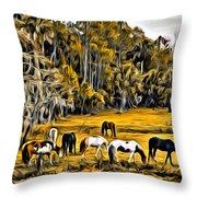 Florida Horses Two Throw Pillow