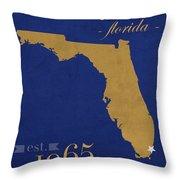 Florida International University Panthers Miami College Town State Map Poster Series No 038 Throw Pillow