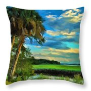 Florida Landscape With Palms Throw Pillow