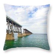 Florida Overseas Railway Bridge Near Bahia Honda State Park Throw Pillow