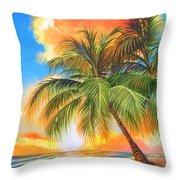 Florida Palm Sunset Throw Pillow