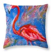 Florida Pink Flamingo - Modern Impressionist Art Throw Pillow