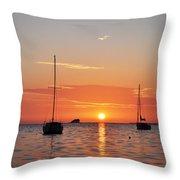 Florida Sailboat Sunset Throw Pillow