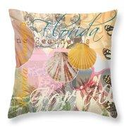 Florida Seashells Collage Throw Pillow