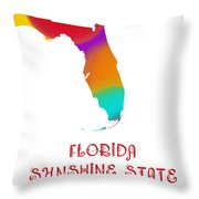 Florida State Map Collection 2 Throw Pillow