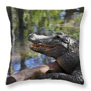 Florida - Where The Alligator Smiles Throw Pillow