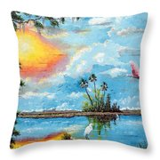 Florida Wilderness Oil Using Knife Throw Pillow