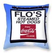 Flo's Steamed Hot Dogs Throw Pillow