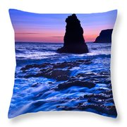 Flow - Dramatic Sunset View Of A Sea Stack In Davenport Beach Santa Cruz. Throw Pillow
