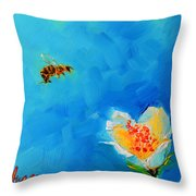 Flower And A Bee Throw Pillow