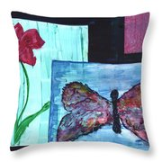 Flower And Butterfly Throw Pillow