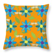 Flower And Dragonfly Design With Orange Background Throw Pillow