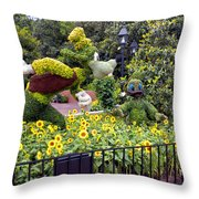 Flower And Garden Signage Walt Disney World Throw Pillow