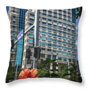 Flower And Skyscraper Throw Pillow