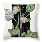 Flower Anthurium 02 Elena Yakubovich Throw Pillow by Elena Yakubovich