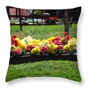 Flower Bed Throw Pillow by Holly Blunkall