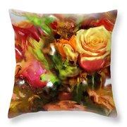 Flower Bouquet Greetings Throw Pillow