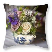 Flower Bouquet In A Teapot Throw Pillow