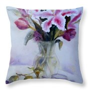 Flower Bouquet With Teapot And Fruit Throw Pillow