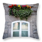Flower Box Old Quebec City Throw Pillow
