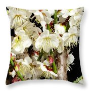 Flower Bunch Bush White Cream Strands Sensual Exotic Valentine's Day Gifts Throw Pillow