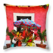 Flower Cart San Juan Puerto Rico Throw Pillow