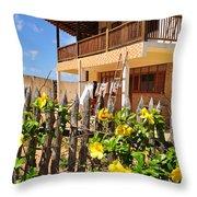 Flower Fence For A Beach Loft In Jeri Throw Pillow