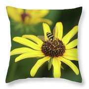 Flower Fly And Yellow Flowers Throw Pillow