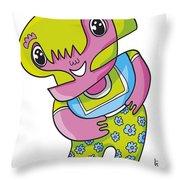 Flower Girl Doodle Character Throw Pillow by Frank Ramspott